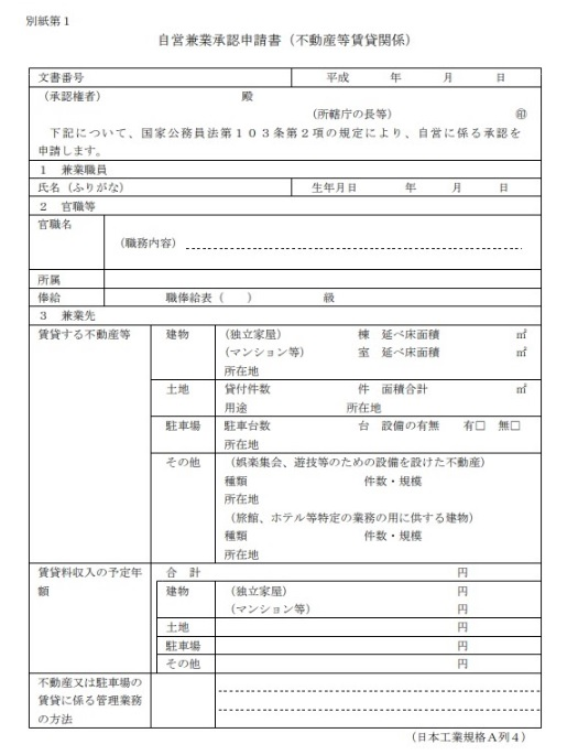 自営兼業承認申請書(不動産等賃貸関係)表面